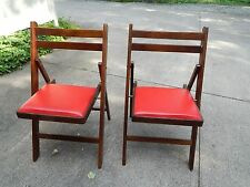 TWO Vintage Mid Century Wooden Folding Chairs Red Vinyl Seat Romania Excellent