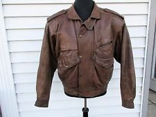 Vintage Adventure Bound Brown Leather Bomber Jacket Mens M