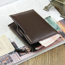 Men Faux Brown PU ID credit Card holder Clutch Bifold Coin Pockets Purse Wallet