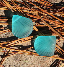 2 pcs~Sea Glass LARGE Clam Shell Pendant Beads~Turquoise Bay ( 29x27mm)~ 2 pcs.