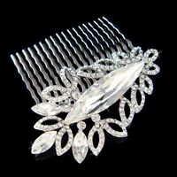 w Swarovski Crystal ~Leaf~ Flower Floral Bridal Head Piece Hair Comb Fascinator