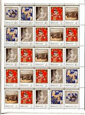 RUSSIA 1989 SC#B160-64 RUSSIAN PAINTINGS FULL SHEET OF 25 STAMPS MNH