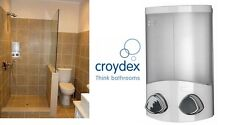 Croydex Euro Duo Wall Mounted Double Soap Shampoo Shower Gel Dispenser White New