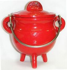 "3.5 "" Cast Iron RED Cauldron Incense Burner POT BELLY ~ FREE PRIORITY SHIPPING"