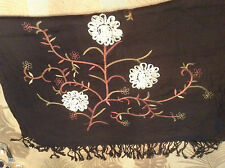 Eyeful Viscose Fringed Scarf / Shawl Black with Embroidery