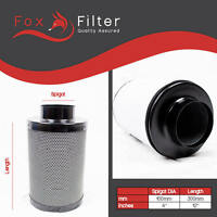 """FOX HYDROPONICS 4"""" 100mm CARBON FILTER FOR EXTRACTOR FAN GROW KIT ROOMS TENTS"""