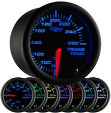52mm GLOWSHIFT BLACK 7 COLOR ELECTRICAL TRANSMISSION TRANS TEMP GAUGE KIT