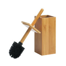 Stylish Toilet Brush and Holder Combo Natural Bamboo Elegant Bathroom Decor NEW