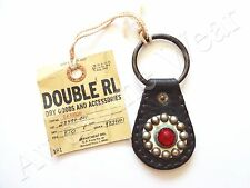 New Ralph Lauren RRL Vintage Dark Brown Leather Studded Key Chain