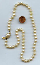 """Exceptional Signed MIRIAM HASKELL Faux Hand Knotted Luster Pearl Necklace 20"""""""