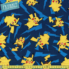 Robert Kaufman Fabric Pokemon Pikachu Lightning Blue PER METRE Nintendo Licensed