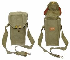 VINTAGE EX-ARMY KHAKI SHOULDER BAG SHOWERPROOF CANVAS & LEATHER BELGIAN ARMY