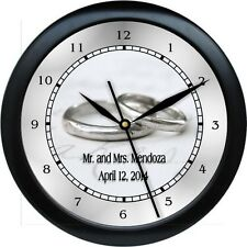 Personalized Silver Wedding Ring Wall Clock Bride Groom Marriage Gift