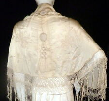 Antique Edwardian Silk Canton Embroidered Capelet Floral Piano Shawl Fringe VTG