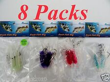 """8 packs 3"""" rock cod rigs two Bulb Squid rigged Fishing Lures 2 x each colors"""