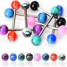 T#153 - 25pc Skull UV Acrylic Tongue Rings 14g Tounge
