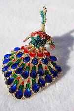 SWAROVSKI CRYSTAL BEJEWELED ENAMEL HINGED TRINKET BOX - PEACOCK WITH OPEN TAIL