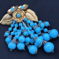 Vtg MIRIAM HASKELL Gold Flower Blue Turquoise Glass Dangle Beads Pin Brooch -F