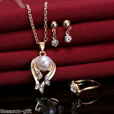 GIFT 1Set Fashion Gold Plated Rhinestone Pearls Pendant Errings Necklace Rings
