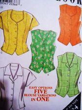 Vtg UNCUT NEW LOOK 6636 PATTERN linen cotton blouse top 12-16-18-20-22-24