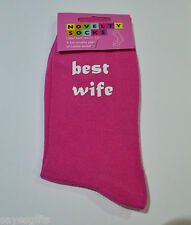 Best Wife Best Mummy Ladies Hot Pink Socks Birthday or Christmas Present