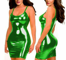 Sexy glisten Metallic PVC FAUX LEATHER Silhouette Night Club Mini Dress Green