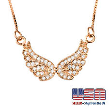 """925 Sterling Silver Rose Gold Plated Angel Wing Cubic Pendant Necklace 16""""+2"""""""