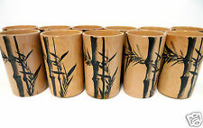 Vintage 1940s Japan Bamboo Tiki 11 Cups Mugs Tropical Laou Retro Hand Painted