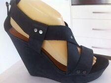Ladies Dark Grey Leather & OTHER STORIES Wedges AUS Size 9 EU 40 Strappy Heels