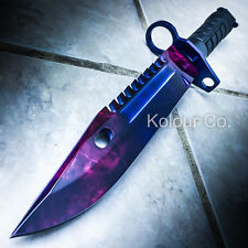 "13"" CS GO Tactical Fixed Blade Hunting Knife Bayonet Bowie BLACK PEARL DOPPLER"