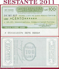 BANCA CATTOLICA DEL VENETO Lire 100 20.10. 1976 AS. CO. COMMERCIANTI VERONA  B61