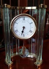 "Seiko Carriage Mantel Clock Mid Century Acrylic Lucite Art Deco Style 11"" tall"