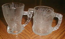 2 McDonald's Flintstones Glass Mugs 1993 Tree Mendous & Mammoth