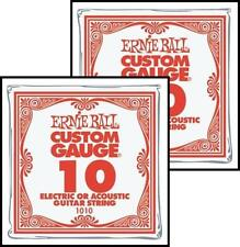 Ernie Ball Nickel Plain Single Guitar String .010 Gauge Pack 2 strings PO1010