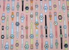 "Geeky Swatches Orange Retro Watch Riley Blake Fabric 23"" REMNANT"