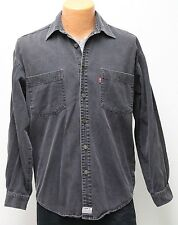 vtg Levi's BLACK-GRAY JEAN SHIRT SMALL 90s Red-Tab Denim work chore 1996 faded S