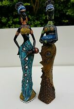 X2 African Woman Lady with Baby Figurine Statue Ornament Brown Blue Black