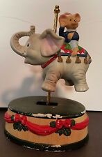 Vintage Carousel  Music Box Turning Elephant Mouse Ceramic Christmas