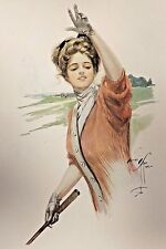 ANTIQUE 1909 HARRISON FISHER LITHOGRAPH - WOMAN GOLFING