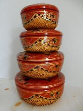 VINTAGE CHINESE NESTING BASKETS PAPER MACHE HAND PAINTED LACQUER RED GOLD GILT