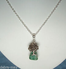 "Tree Agate Nugget and Tree Charm 18"" Chain Necklace in Gift Bag"