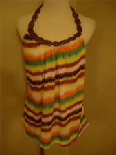 NWT Love To Love Multi Striped Halter Top w/ Wooden Strap Juniors size XL