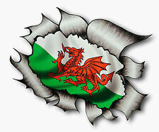 Ripped Torn Metal Look Design & CYMRU Welsh Dragon Wales Flag vinyl car sticker