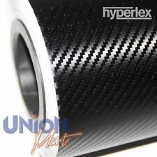 3D CARBON FIBRE VINYL WRAP BLACK TEXTURED HYPERLEX BUBBLE FREE 1520mm x 400mm