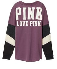 Victorias Secret PINK VARSITY CREW SWEATER SMALL - MAUVE MIST PURPLE -NWT!
