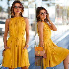High Neck Pleated Style Halter Dress Yellow