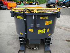 NEW TRACTOR MOUNTED HYDRAULIC DRIVEN PAN MIXER 1200LT PALLET FORK MOUNTED