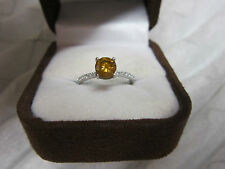 GORGEOUS ESTATE PLATINUM 1.20 CTW VIVID YELLOW ORANGE  DIAMOND RING !!!!!!!!!!