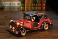 Vintage Collect Handmade Realistic Classic Red Wooden Car Model Toy Decor Gift