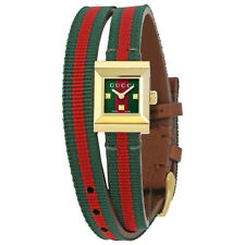 Gucci G-Frame Red and Green Dial Ladies Canvas Watch YA128527